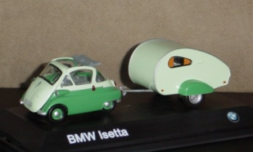 1/43 - BMW Isetta - with caravan - green/green